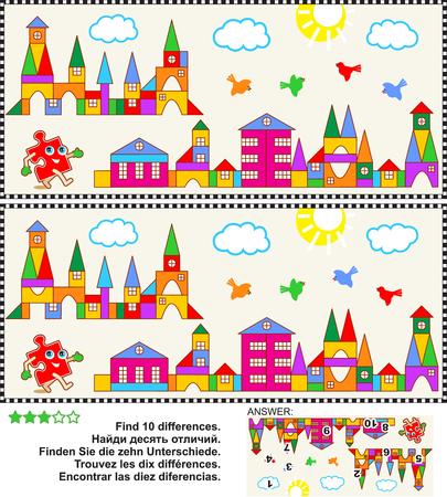 Foto puzzel: Vind de tien verschillen tussen de twee foto's van Toy Town scènes. Antwoord inbegrepen.
