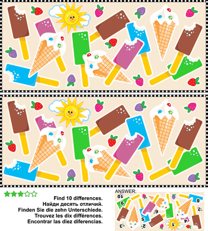 Picture puzzle: Find the ten differences between the two pictures of yummy ice cream bars and cones. Answer included. Stock Illustratie