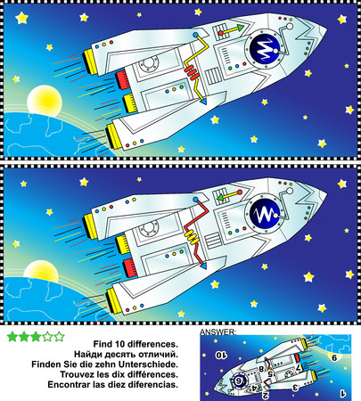 spaceship: Picture puzzle: Find the ten differences between the two pictures of outer space, spaceship or rocket, Earth, Sun or Moon, and stars. Answer included. Illustration