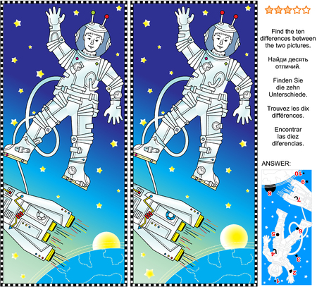 Picture puzzle: Find the ten differences between the two pictures of outer space, cosmonaut or astronaut, spaceship, Earth, Sun or Moon, and stars. Answer included. Illustration