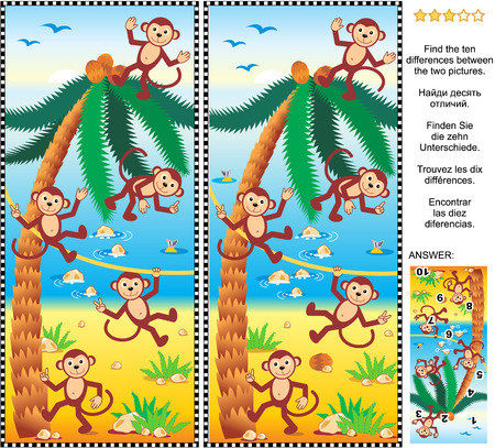 difference: Visual puzzle: Find the ten differences between the two pictures - playful monkeys, beach, coconut palm. Answer included.