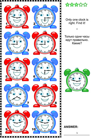 at leisure: Visual logic puzzle: Only one clock is right. Find it! Answer included.