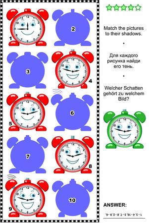 cerillos: Rompecabezas visual: coincide con la imagen de los relojes de alarma roja a sus sombras. Respuesta incluido.