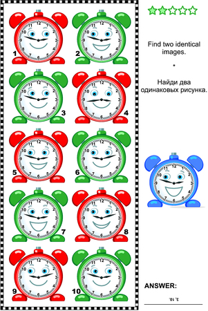 identical: Visual puzzle: Find two identical images of alarm clocks. Answer included.