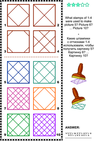 Visual logic puzzle: What stamps of 1-4 were used to make picture 5 Picture 6 ... Picture 10 Answer included.
