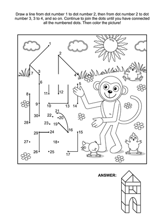 connects: Connect the dots picture puzzle and coloring page - monkey the builder. Answer included.