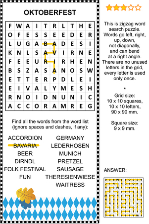 themed: Oktoberfest themed word search puzzle english language. Answer included.