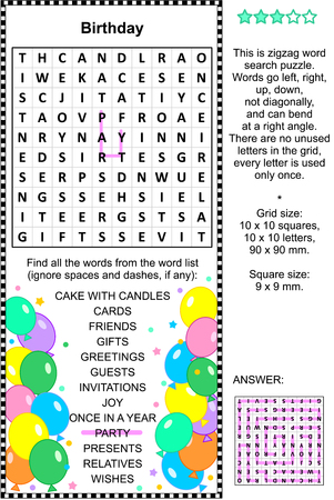 themed: Birthday themed word search puzzle english language. Answer included.