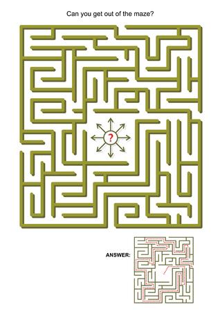 laberinto: Laberinto juego para los ni�os o los adultos: �Puede salir de las respuestas laberinto incluidos.