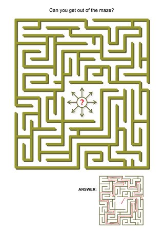 Maze game for kids or adults: Can you get out of the maze Answers included. Ilustração