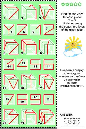 educativo: Visual acertijo matemático: Encuentre la vista superior de cada pedazo de alambre estirado a lo largo de los bordes y las caras de los cubos de vidrio ABC cartas Y, Z y números del 0 - 9. Respuesta incluido. Vectores