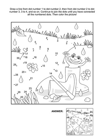 Rainy autumn day connect the dots picture puzzle and coloring page with umbrella, gumboots and happy frog. Answer included.