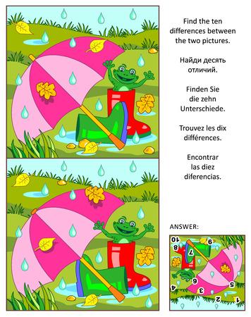 Rompecabezas visual: Encuentre las diez diferencias entre las dos imágenes con el paraguas, botas de goma y rana feliz al aire libre en el día de otoño lluvioso. Respuesta incluido. Ilustración de vector