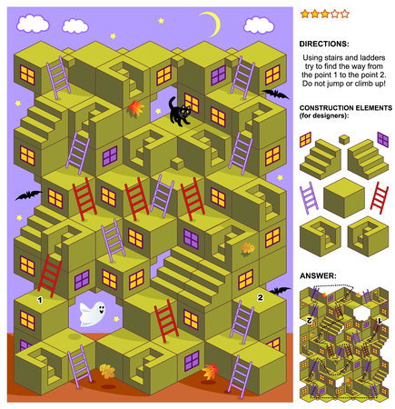 Autumn or Halloween themed 3d maze game: Using stairs and ladders try to find the way from the point 1 to the point 2. Do not jump or climb up! Answer included. Illustration