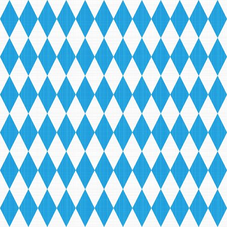 checked flag: Seamless,  or repeat, Oktoberfest and Bavarian flag pattern or background with fabric texture.   Illustration