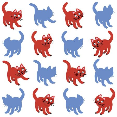 shadow match: Shadow match game with red cats and their silhouettes.  Illustration