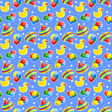 rubber ducks: Seamless baby toys background  with colorful spinning tops, rubber ducks and building blocks and blue backdrop