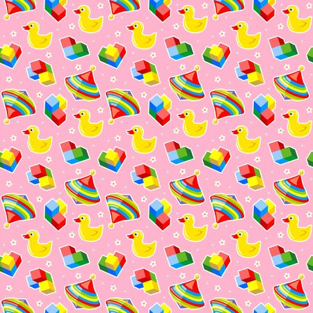 rubber ducks: Seamless baby toys background with colorful spinning tops, rubber ducks and building blocks and pink backdrop