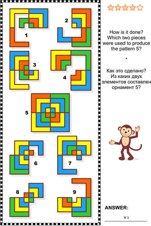 iq: IQ training abstract visual puzzle: How is it done Which two pieces were used to produce the pattern 5 Answer included. Illustration