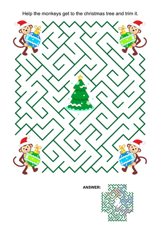 helpers: Christmas or New Year maze game: Help the monkey Santa helpers get to the christmas tree and trim it. Answer included.