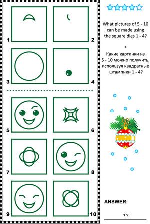 logica: Visual rompecabezas de la lógica: ¿Qué imágenes de 5-10 se pueden hacer usando la plaza muere 1-4 respuesta incluido. Vectores