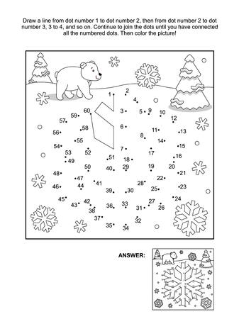 Vacaciones De Invierno Con Temas Conectar El Puzzle De Puntos De ...