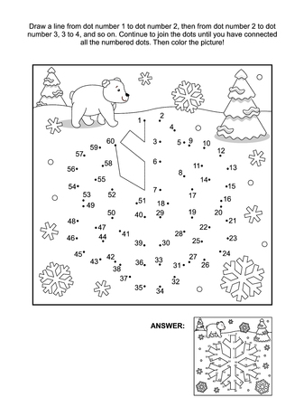 printable coloring pages: Winter, New Year or Christmas themed connect the dots picture puzzle and coloring page - snowflake. Answer included.
