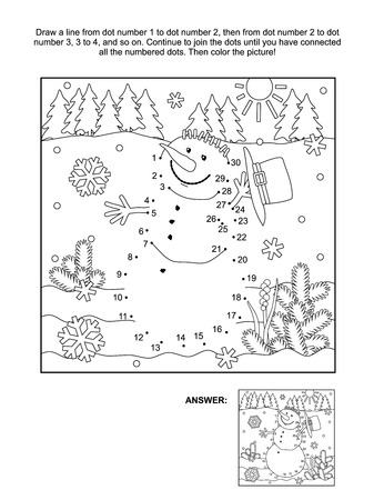 Winter, New Year or Christmas themed connect the dots picture puzzle and coloring page - snowman. Answer included.