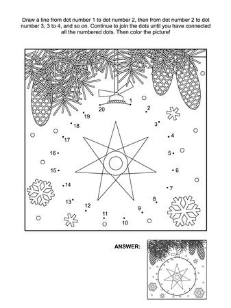 Winter Nieuwjaar Of Kerstmis Thema Verbind De Punten Foto Puzzel En