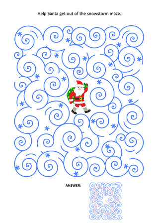 snowstorm: Christmas or New Year maze game: Help Santa get out of the snowstorm maze. Answer included.