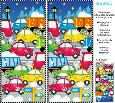 Winter holiday traffic jam picture puzzle: Find the ten differences between the two pictures of cars and trucks on the road, snow, etc. Answer included. 일러스트