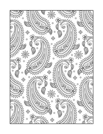 Hand Gezeichnet Paisley-Muster Für Erwachsene Malvorlagen A4-Format ...