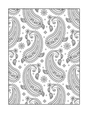 kashmir: Paisley pattern coloring page for adults children ok, too, or monochrome decorative background.
