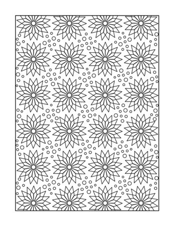 whimsical pattern: Pattern coloring page for adults children ok, too with whimsical stars, or monochrome decorative background.