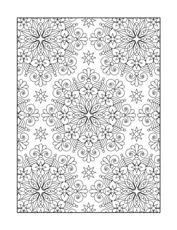 Pattern coloring page for adults children ok, too, or monochrome decorative background.