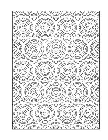 printable coloring pages: Pattern coloring page for adults children ok, too with valentine hearts, or monochrome decorative background.