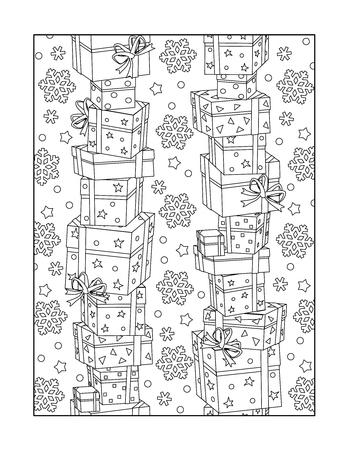 Colorear patrón para adultos niños ok, también con las cajas apiladas de regalo y los copos de nieve, o en blanco y negro fondo decorativo.