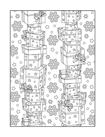 coloring sheet: Pattern coloring page for adults children ok, too with stacked gift boxes and snowflakes, or monochrome decorative background. Illustration