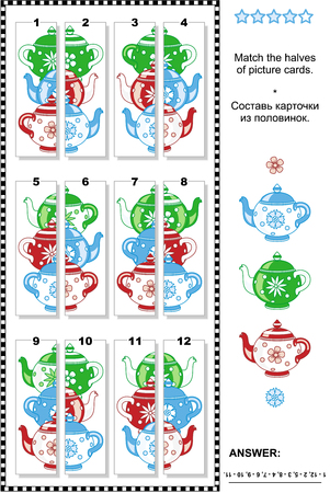 Visual puzzle: Match the halves of cards depicting colorful teapots. Answer included.