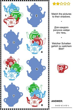 shadows: Visual puzzle: Match the pictures of colorful teapots to their shadows. Answer included.