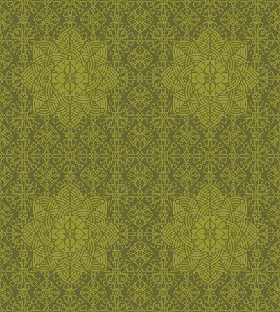 swatch: Seamless repeatable, 4 tiles here vintage multicultural decorative two-color pattern, print, swatch, wallpaper, or background