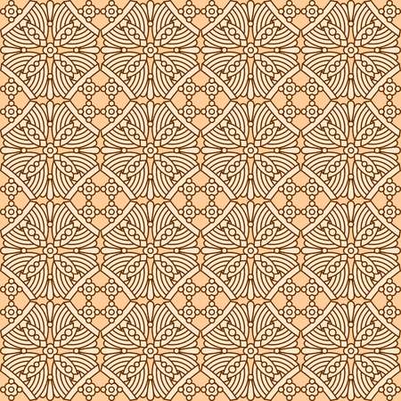 decorative wallpaper: Seamless repeatable, 16 tiles here vintage multicultural decorative flat colors pattern, print, swatch, wallpaper, or background Illustration