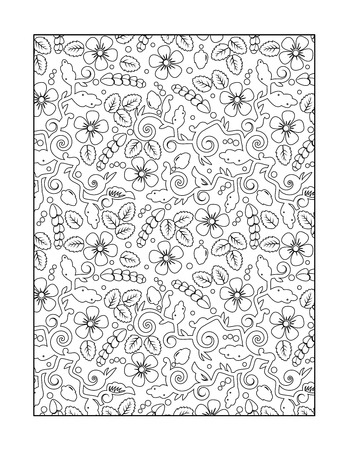 whimsical pattern: Coloring page for adults children ok, too with whimsical floral pattern, or monochrome decorative background. Illustration