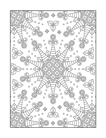 whimsical pattern: Pattern coloring page for adults children ok, too with whimsical rosettes, or monochrome decorative background.