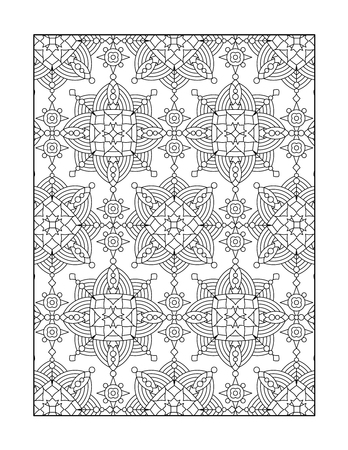printable coloring pages: Pattern coloring page for adults children ok, too with whimsical rosettes, or monochrome decorative background.