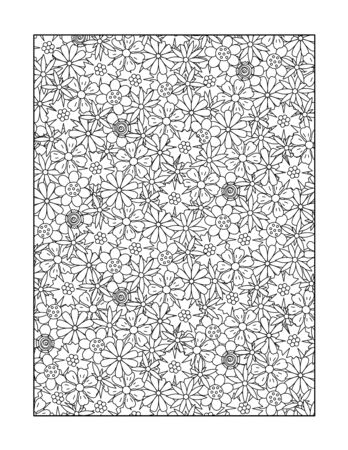 Coloring page for adults children ok, too with whimsical floral pattern, or monochrome decorative background. Illustration