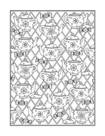 printable coloring pages: Coloring page for adults children ok, too with whimsical dishware pattern, or monochrome decorative background.