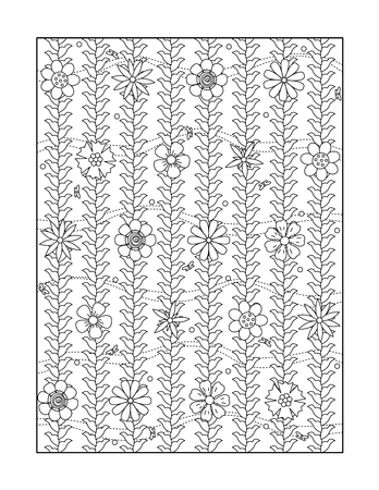 flowerhead: Coloring page for adults children ok, too with whimsical floral pattern, or monochrome decorative background. Illustration
