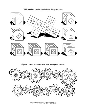 counterclockwise: Puzzle page with two puzzles: Which cubes can be made from the given net If gear 1 turns anticlockwise how does gear 2 turn Answer included. Illustration