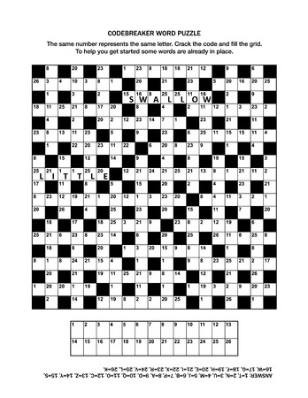 Puzzle page with codebreaker or codeword, or code cracker word game. Answer included. Illustration
